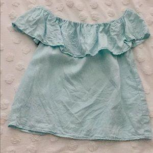 Light Blue Off-The-Shoulder Blouse